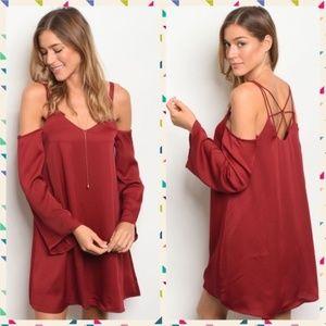 Boutique Cold Shoulder Mini Dress